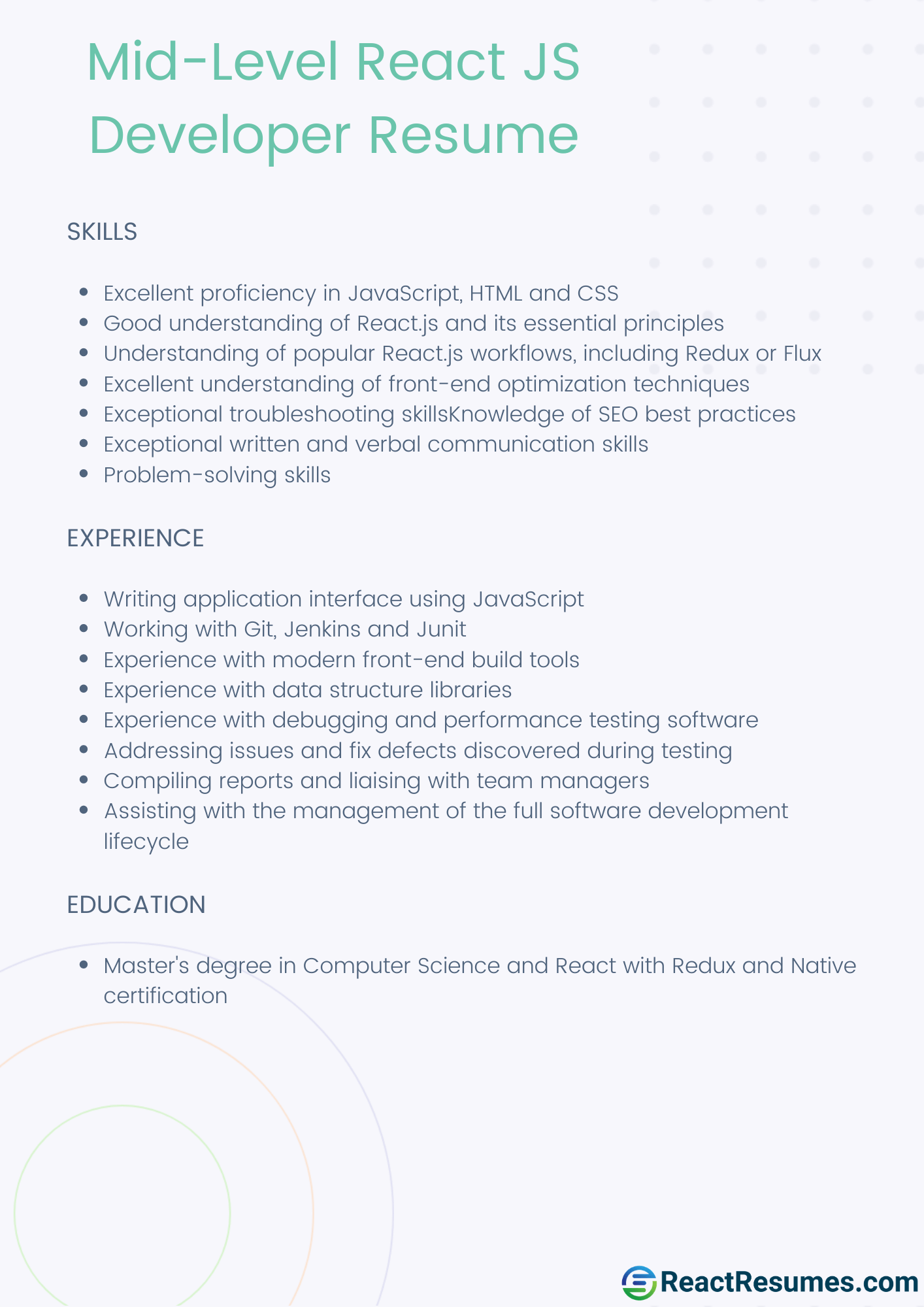 middle react js sample resume example