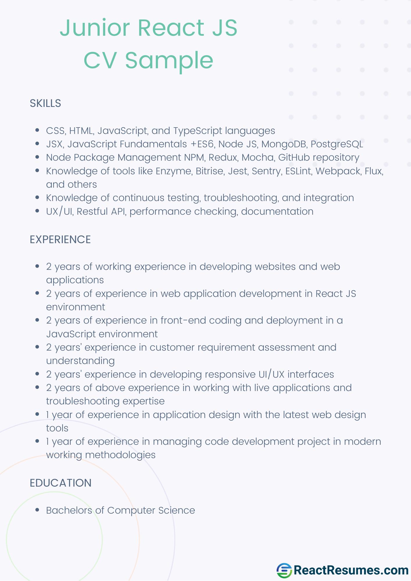 react junior developer cv example