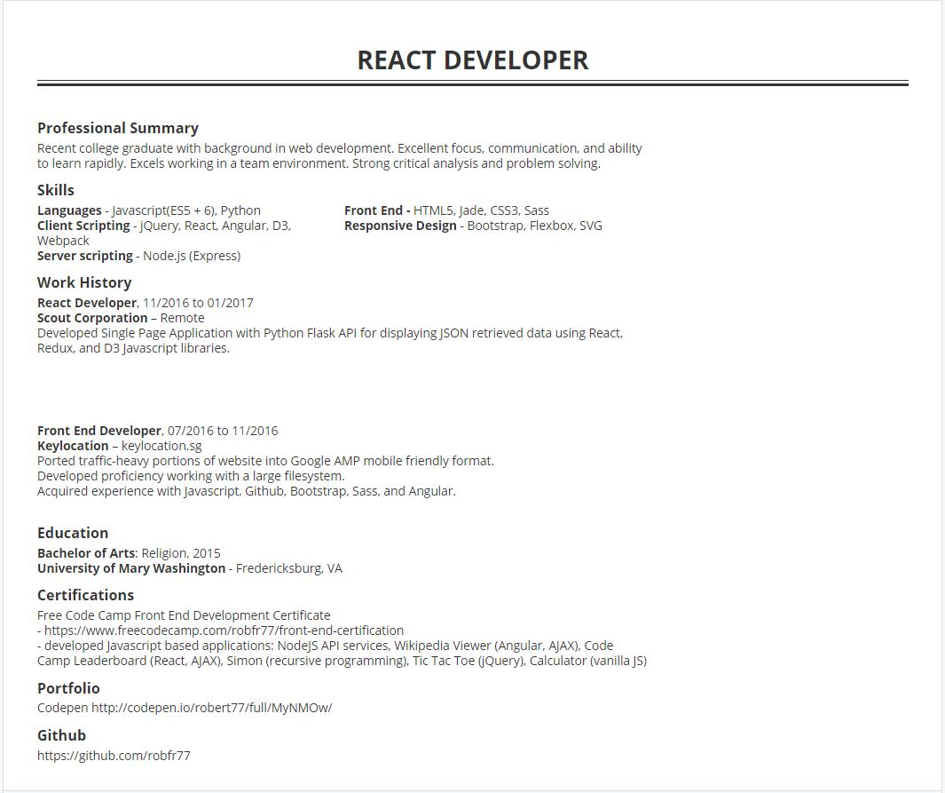 react junior developer cv sample