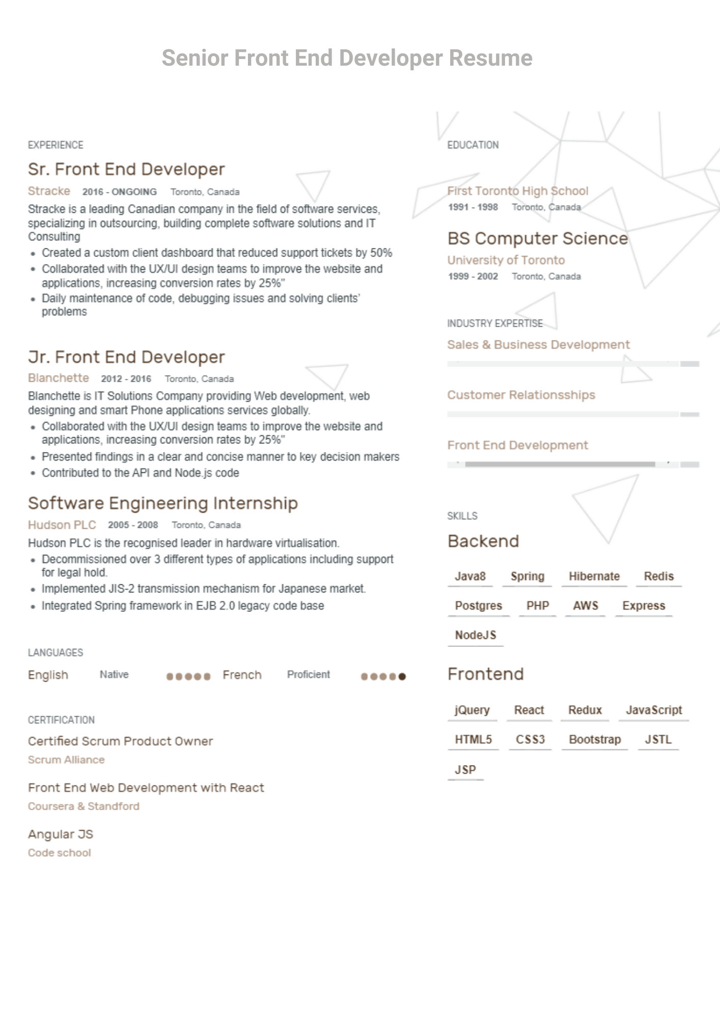fronend engineer with react and java 8 skills cv format