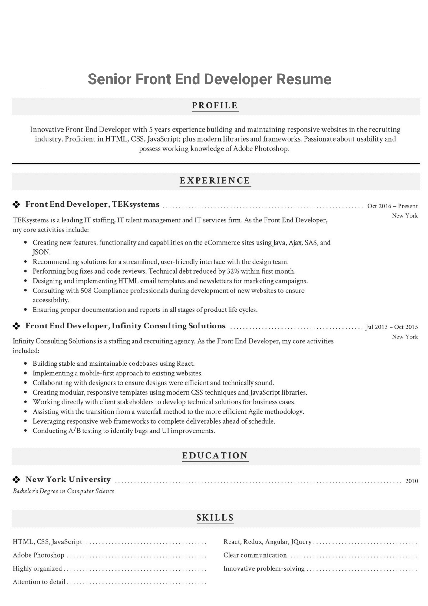 front end coder resume example