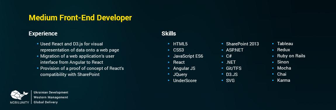 front end developer cv