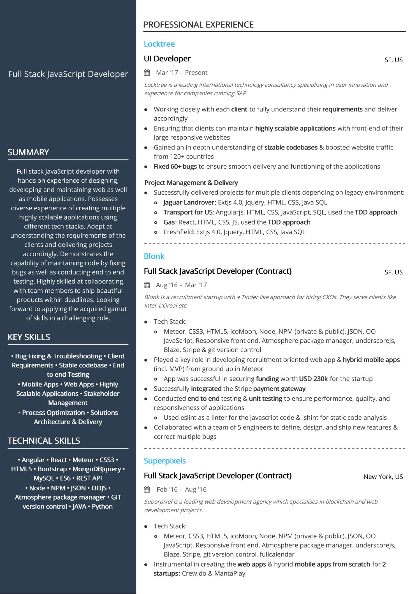 java developer with react js cv example