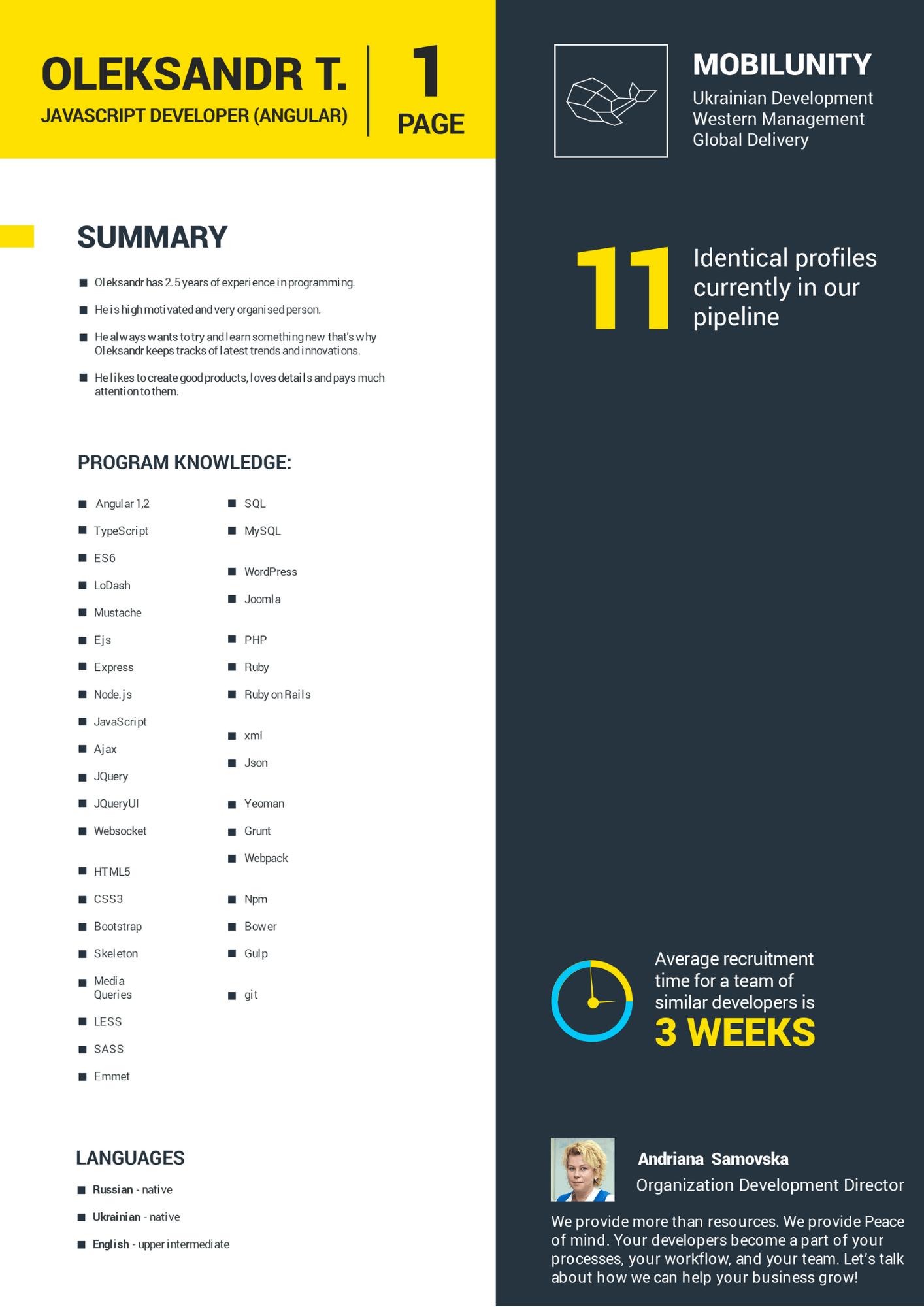 javascript developer resume sample