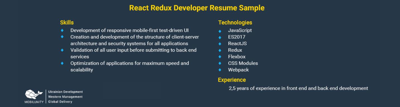 redux developer cv example