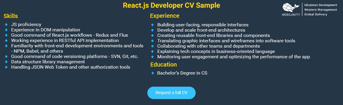 senior react dev resume sample