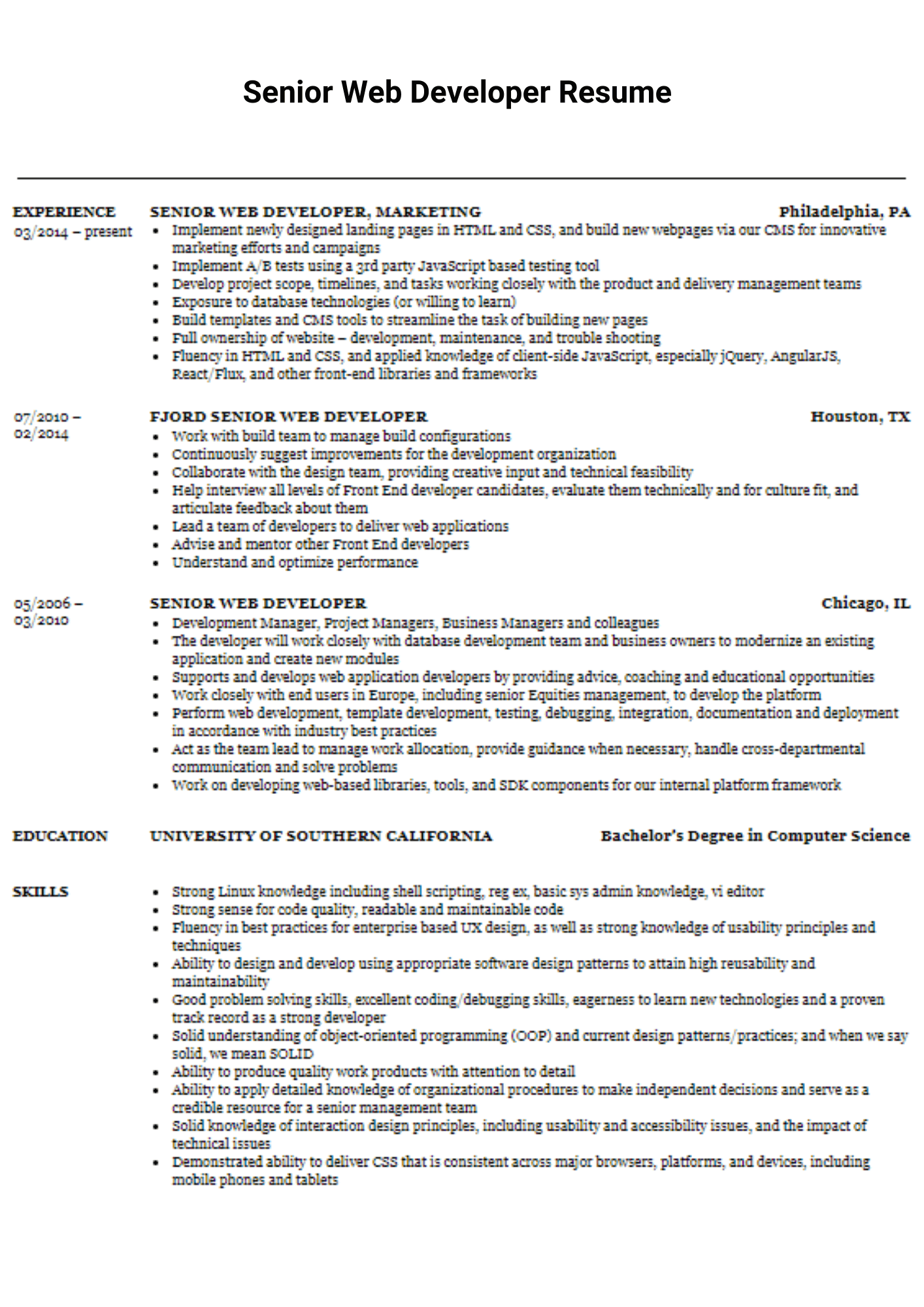 senior web developer resume with experience in react