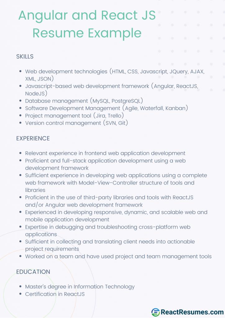 angular and react js resume