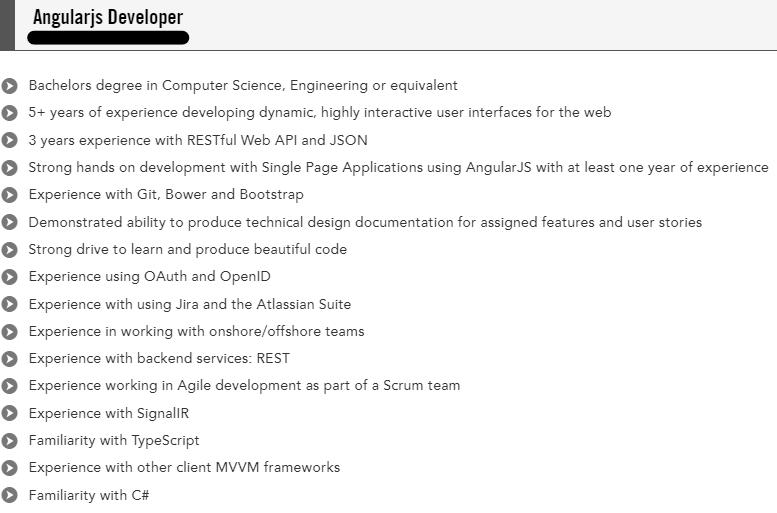 angularjs developer resume example