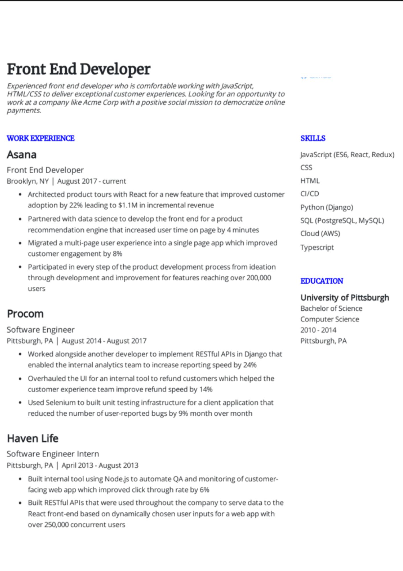 front end coder redux resume sample