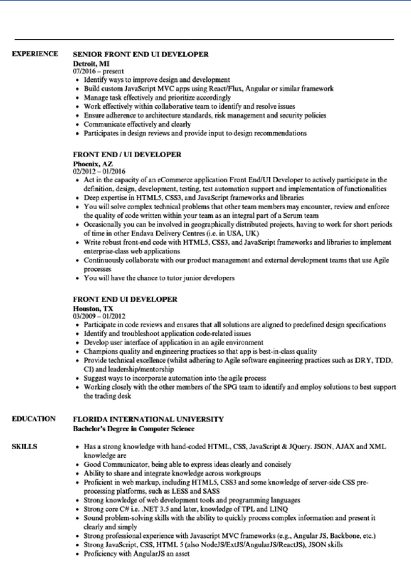 front end ui developer resume sample