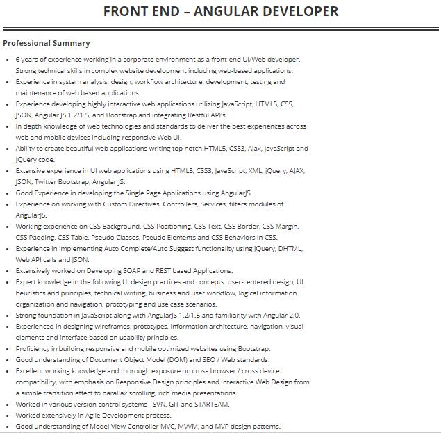 frontend angularjs developer cv example