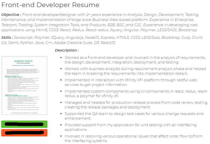 frontend developer resume node react js example