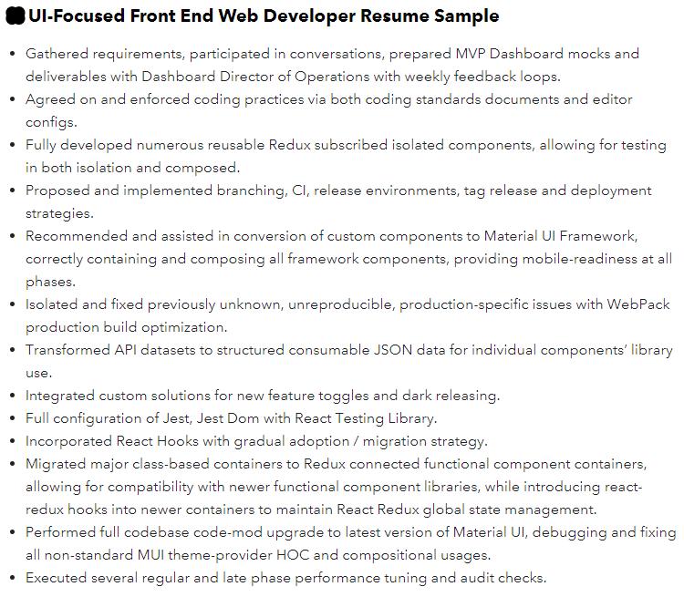 frontend web developer resume example
