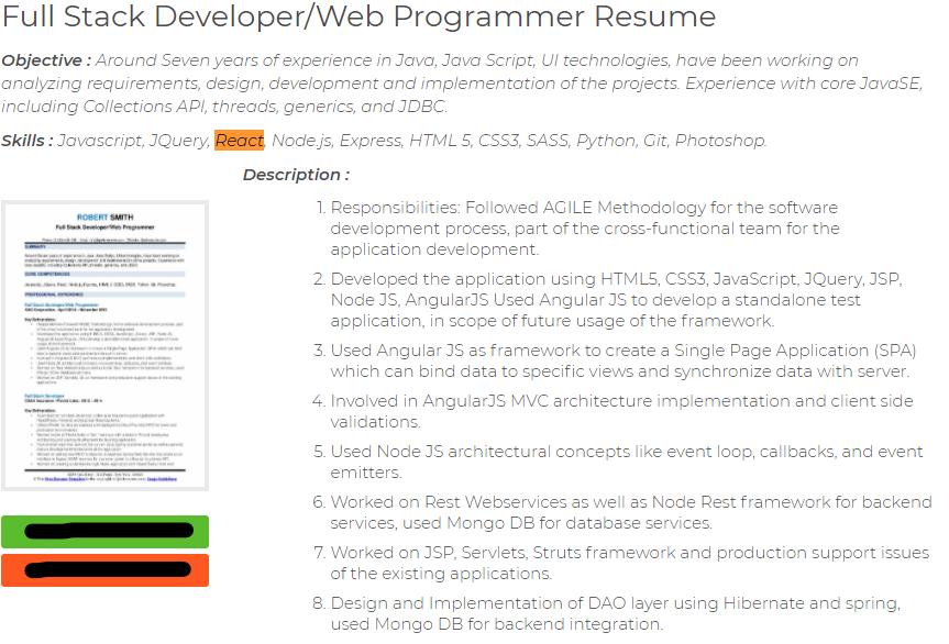 full stack developer node js and react js resume example