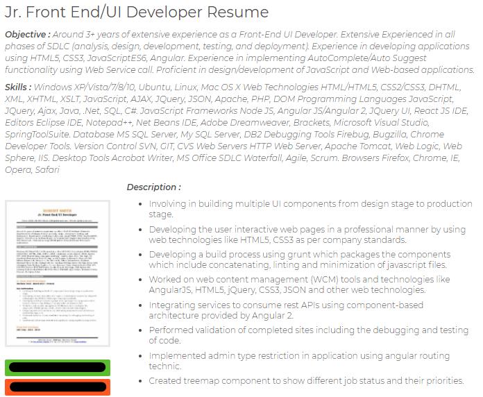 junior frontend ui developer cv sample