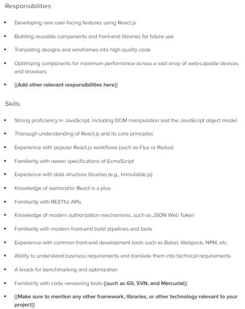 junior reactjs developer sample resume
