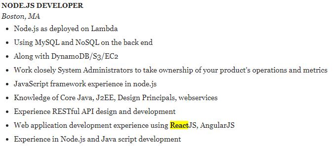 nodejs reactjs developer resume sample