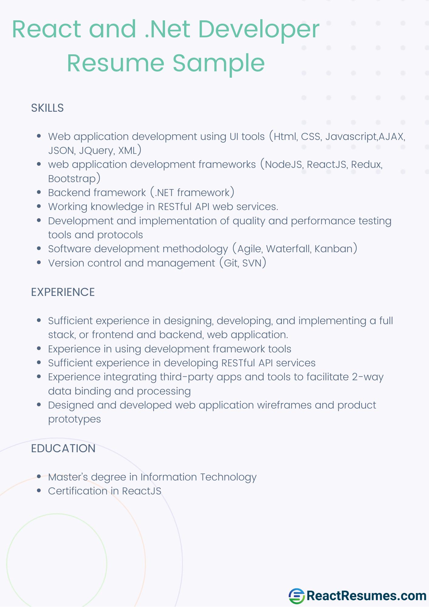 react and .net developer resume sample