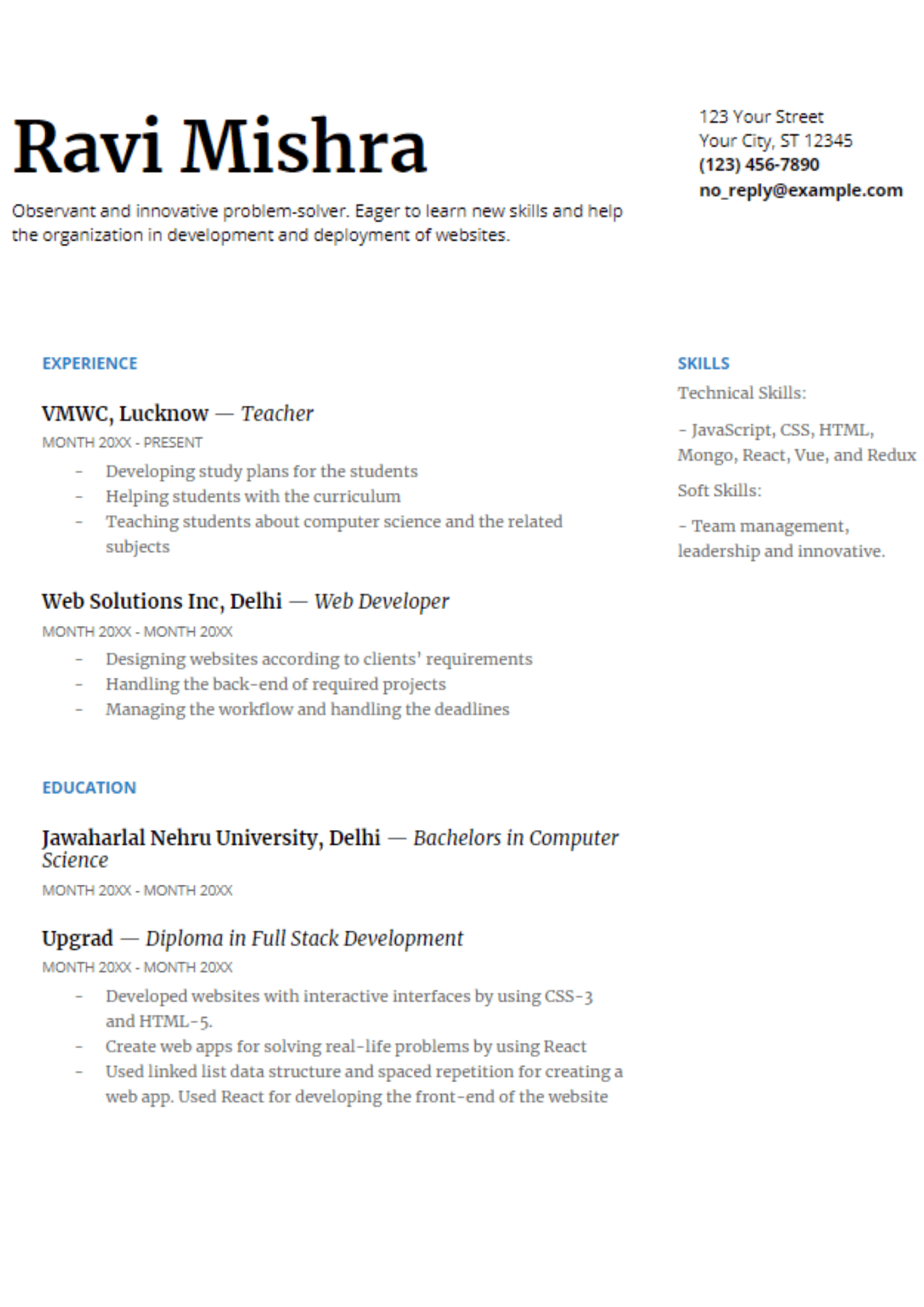 react js ui developer resume