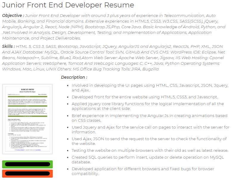 reactjs .net developer cv