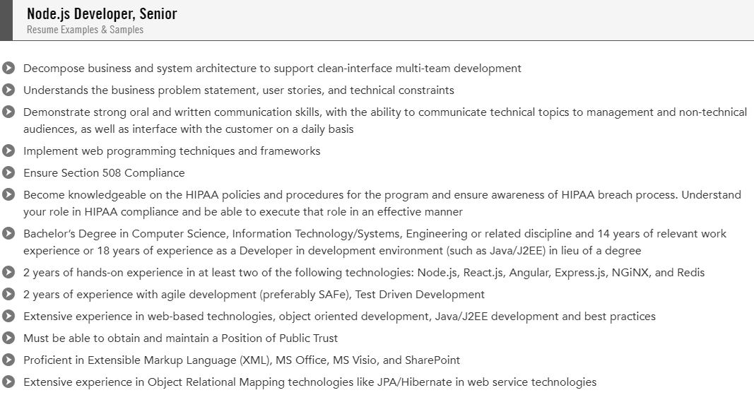 sample of a resume for node react js coder