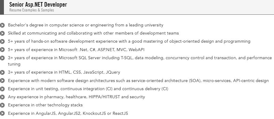 senior asp.net developer resume sample