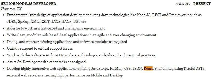 senior node.js developer resume example