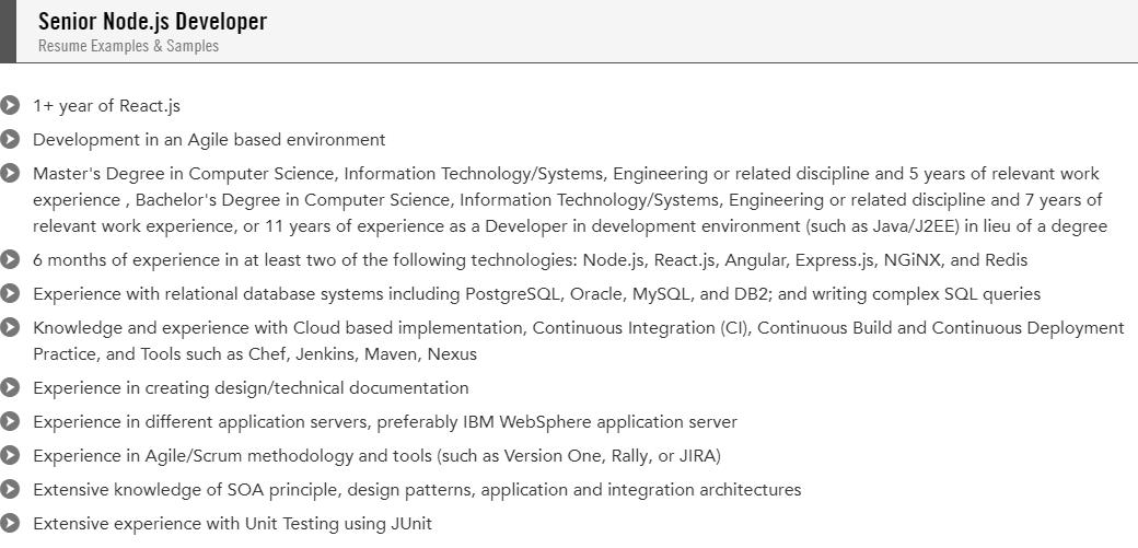 senior node.js developer resume