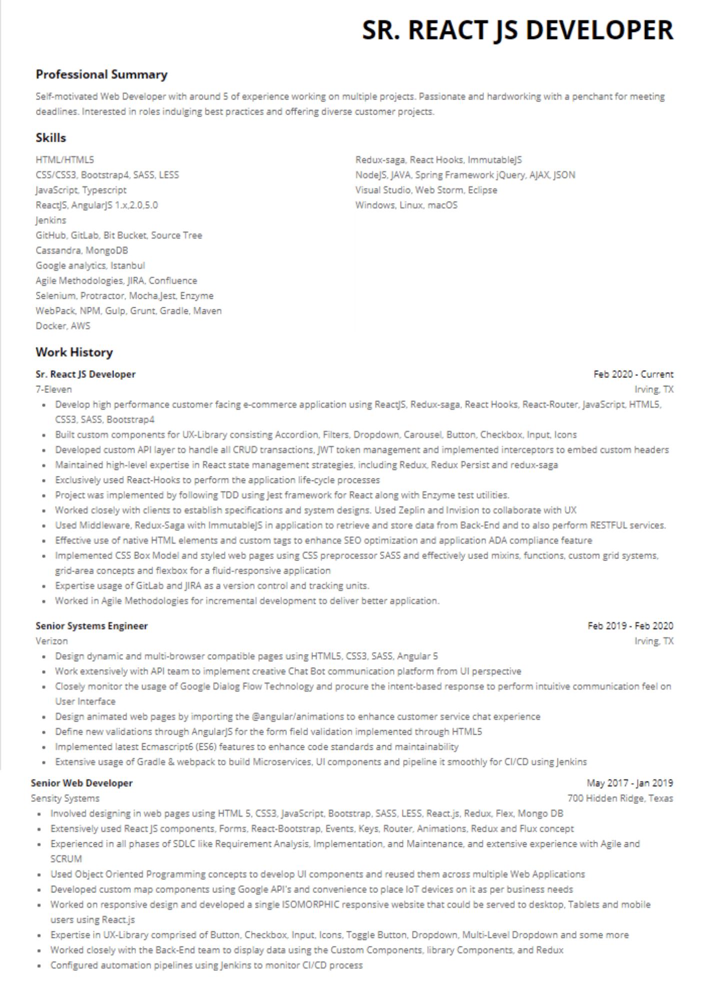 senior react developer with redux resume sample