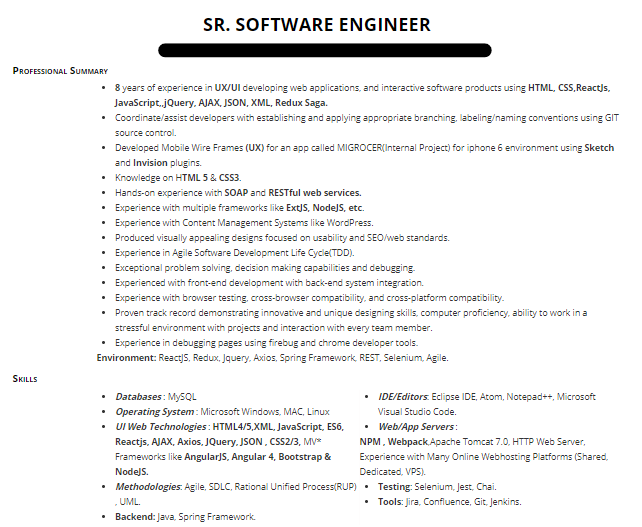 senior software engineer with react and .net resume sample